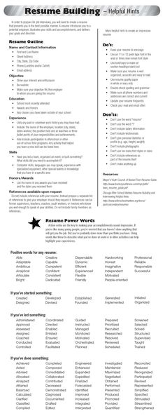 Resume tips, resume skill words, resume verbs, resume experience - resume skill words