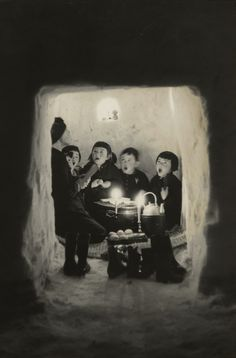 "Exquisite photograph:  ""Children Singing in a Snow Cave, Niigata Prefecture"" (1956) by Hiroshi Hamaya, Japan"