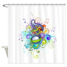 Abstract Swirl Music Note Shower Curtain on CafePress.com