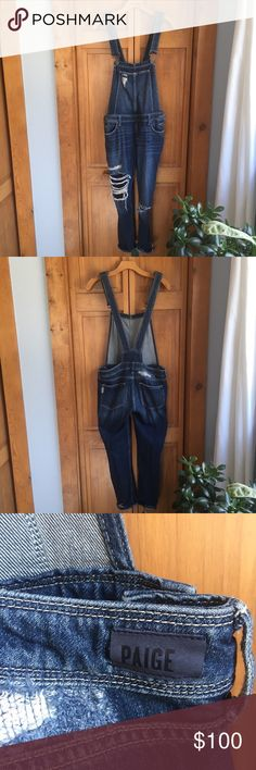 7ccd58c7400 Paige Distressed Denim Overalls Paige Distressed Denim overalls. These have  a relaxed fit with adjustable