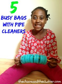 These simple busy bags made with pipe cleaners cost next to nothing to make. Quiet Time Activities, Indoor Activities, Toddler Preschool, Preschool Activities, Toddler Busy Bags, Early Finishers Activities, Activity Bags, Busy Boxes, Tot School