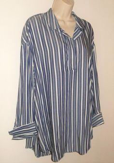 69b034ce3cb H&M Tunic Shirt M 10 12 L NEW Striped Blue White Oversized Popover Medium  Womens