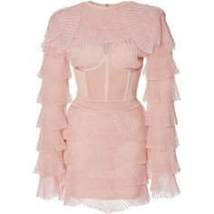 Balmain Ribbed Mini Dress (35.825 RON) ❤ liked on Polyvore featuring dresses, balmain, pink, ribbed dress, pink mini dress, short pink dress and balmain dress