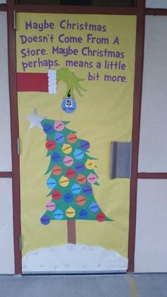 33 Amazing Classroom Doors for Winter and the Holidays Bring some good cheer to your classroom with this holiday classroom doors and winter classroom door ideas. Then recreate them yourself! Preschool Christmas, Christmas Crafts, Christmas Trees, Grinch Christmas, Christmas Printables, Winter Christmas, Christmas Door Decorating Contest, Christmas Bulletin Boards, Grinch Bulletin Board