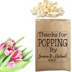 Thanks for popping by! A custom popcorn favor stamp is perfect to personalize your wedding. Use this stamp as the finishing touch to a popcorn bag, jar or box by SouthernPaperAndInk. Shop now to personalize your stamp.