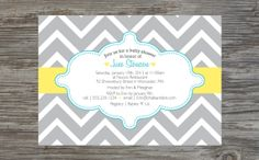 Custom Printable: Chevron Baby Shower Invitation. $18.00, via Etsy.