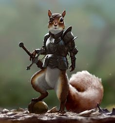 """Squirrel warrior from """"Medieval Rodent Warriors"""" by Johannes Holm Dnd Characters, Fantasy Characters, Fantasy Kunst, Fantasy Art, Dungeons And Dragons, Character Concept, Character Art, Rodents, Creature Design"""