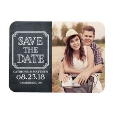 Chalkboard Wedding Save the Date Vintage Typography Chalkboard Save the Date Magnet