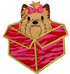 Yorkie Present Applique Design by SimplySweetEmbroider on Etsy, $4.00