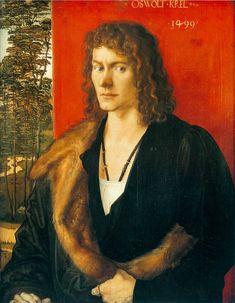 Portret van Oswald Krel ~ Middenpaneel van een drieluik ~ 1499 ~ Olieverf op hout ~ 50 x 39 cm. ~ Alte Pinakothek, München