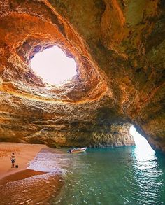 Benagil Sea Caves, Portugal. Tag who you'd go here with. Photo by @howfarfromhome. #earthfever