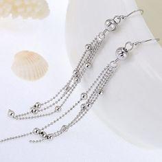 Decorous Silver Color Beads Decorated Tassel Design Cuprum Korean Earrings :Asujewelry.com