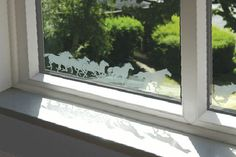 79C Running Free (960mm x 84mm) Visual Designs by Peels of London Stained Glass Window Film www.e-peels.co.uk