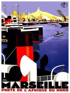 Francia Wall Art Print Marsiglia viaggio Vintage Poster TR74