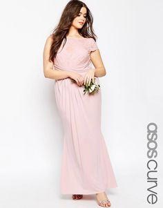 ASOS+CURVE+WEDDING+Pleated+Maxi+Dress+With+Lace+Top
