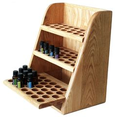 9570 - Handcrafted, Solid Oak, 3-Shelf Storage and Display Rack (Holds 79 vials)