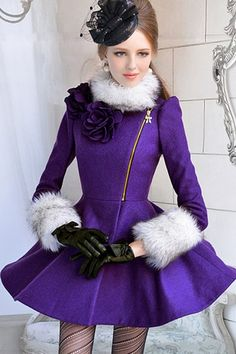 Contrast Faux Fur Trimmed Fit and Flared Coat OASAP.com $157