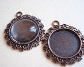 20pcs Wholesale Bulk Cameo Base Antiqued Copper Charm Pendant Inner Size 20mm B-1043 by yooounique on Etsy, $8.50 USD