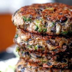Chunky Portabella Veggie Burgers packed with mushrooms, broccoli, black beans