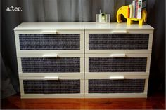 Love how fabric was used to makeover this kids room dresser!