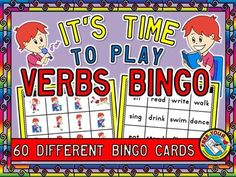 REDUCED PRICE FOR A LIMITED TIME!     VERBS BINGO:30 PICTURE + 30 WORD BINGO CARDS+MATCHING & MEMORY GAME   Vocabulary in this pack: dance, drink, eat, read, sing, run, walk, write, sit, stand, fly and swim.