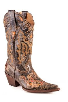 Stetson Womens Exotic 13in Black Python Snake Skin Western Cowboy Boots -- Wow! I love this. Check it out now! : Cowgirl boots