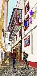 Perro paseando por el callejón del Mercado. Disponible en chiriwappa.com a partir de 88€. Street View, Budget, Dogs, Illustrations, Art