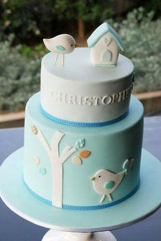 Christening cake - I love these bird themed cakes
