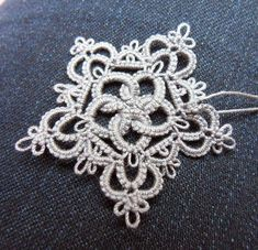 ) and will call this motif Rose & Crown I originally t. Tatting Necklace, Tatting Jewelry, Tatting Lace, Shuttle Tatting Patterns, Needle Tatting Patterns, Crochet Patterns, Needle Tatting Tutorial, Doily Patterns, Crochet Snowflakes