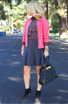 Geek Chic ~ Ports 1961 Vintage Plaid button down shirt, drop-waisted skirt, ankle boots