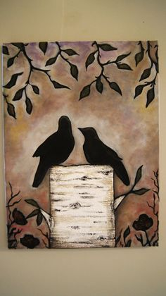 Sunset at Wilson Thicket  -Silhouette Birds on a Birch Stump Acrylic Painting