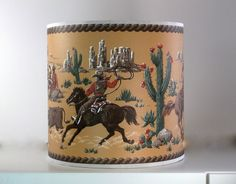 "True Vintage 1950s Nevada Cowboy Wallpaper Handmade Lampshade 10"" x 10"" | eBay"