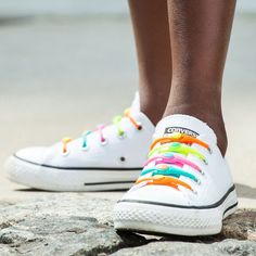 Rainbow - HICKIES Assorted Color No-Tie Laced Sneakers - 5