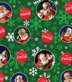 Coca Cola Santa Fleece Fabric-Green
