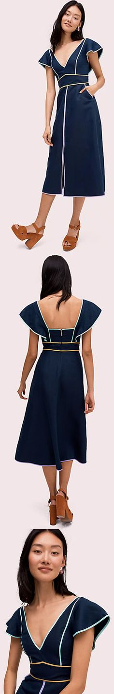 I like the contrast of light and dark. Navy Midi Dress, Peplum Dress, Fashion Collage, Runway Fashion, Fashion Trends, Designing Women, Contrast, Fashion Dresses, Feminine