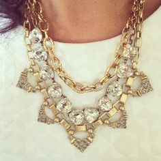 The detachable strand from the new gold Sutton, with the classic Somervell and gold Christina link necklace make a stunning combo. Instagram photo by marykaymcgarr | Stella Dot