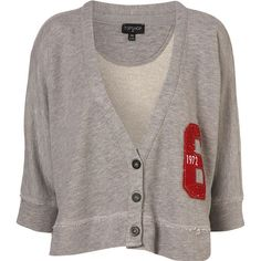 Grey Marl Applique Crop Sweat Batwing Cardigan ($60) ❤ liked on Polyvore featuring tops, cardigans, jackets, sweaters, shirts, women, marled cardigan, cotton shirts, grey cardigan and crop top