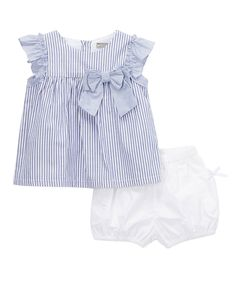 Take a look at this Blue Stripe Swing Top & White Bloomers - Infant & Toddler today!