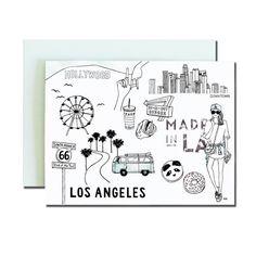 Los Angeles Greeting Card. Stylish Card. by akrDesignStudio