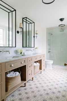 patterned tile bathroom