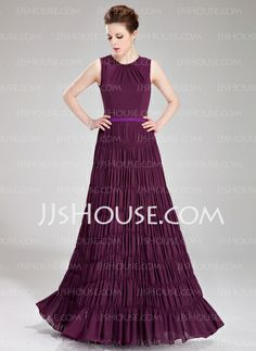 Evening Dresses - $138.99 - A-Line/Princess Scoop Neck Floor-Length Chiffon Charmeuse Evening Dress With Sash (017019754) http://jjshouse.com/A-Line-Princess-Scoop-Neck-Floor-Length-Chiffon-Charmeuse-Evening-Dress-With-Sash-017019754-g19754
