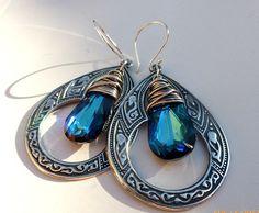 Sterling silver pendant, Bali Sterling silver ear wire, Sterling silver wire wrapping and blue crystal earrings.  Moroccan, Gypsy, Celtic, indie, bohemian earrings