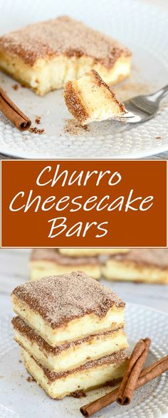 Churro Cheesecake Bars #cheesecake #dessert #churrocake