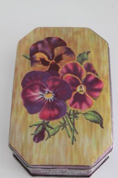 Vintage Purple & Gold Tin Pansies Bluebird Assorted Toffee Tin Made in England | eBay