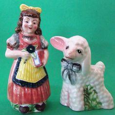 LUSTERWARE * MARY HAD A LITTLE LAMB * Nursery Rhyme * Salt and Pepper Shakers #MadeInJapan