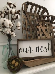 Vintage Farmhouse Decor Farmhouse Style - The Our Nest sign would be a great addition to your home décor or even a great gift. - Approximately ( /- up - Unattached saw tooth hanger - Stained frame - Painted background Farmhouse Style Decorating, Farmhouse Chic, Farmhouse Mantel, Country Farmhouse, Farmhouse Interior, Modern Country, Rustic Modern, Rustic Style, French Country