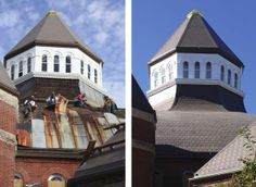 Indiana Landmarks Center roof before and after   Follow Lasher Roofing & Contracting    www.lashercontracting.com   Southern New Jersey   #Roofing  #Contracting #Remodeling
