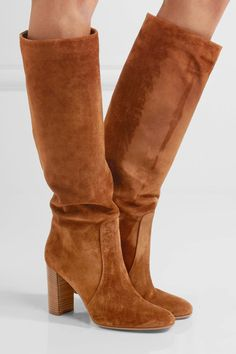 Heel measures approximately 80mm/ 3 inches Brown suede Pull on Designer color: Texas Made in Italy