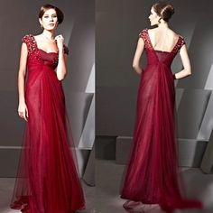 Burgundy Beaded Tulle Formal Evening Gowns Occasion Event Dresses Women SKU-122106