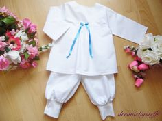 Christening suit satin bow 1 100% cotton